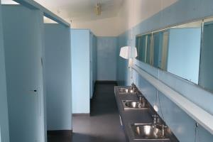 Communal showers and toilets